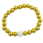 Non magnetic Hematite Bracelet, with Rhinestone Clay Pave Bead & Elastic Thread, gold color plated, with 55 pcs rhinestone, more colors for choice, lead & cadmium free, 10mm, 8mm, Sold Per Approx 7 Inch Strand