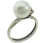 Cultured Freshwater Pearl Finger Ring, 925 Sterling Silver, with Freshwater Pearl, platinum color plated, mixed, 10mm, Size:7.5, Sold By PC