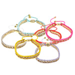 Friendship Bracelets, Nylon Cord, with brass chain & iron chain, gold color plated, with rhinestone, more colors for choice, 12x14mm, 11mm, 4mm, 7mm, Sold Per Approx 7-12 Inch Strand