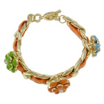 Chain Woven Bracelets, Zinc Alloy, with iron chain & Leather & Glass Pearl, zinc alloy toggle clasp, gold color plated, enamel, nickel, lead & cadmium free, 17x17x14mm, Sold Per 7.5 Inch Strand