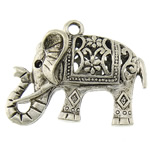 Zinc Alloy Pendant Rhinestone Setting, Elephant, plated, hollow, more colors for choice, 27.5x21x7mm, 1.5mm, Hole:Approx 2.2mm, Sold By PC