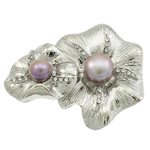 Freshwater Pearl Brooch, with Zinc Alloy, Flower, platinum color plated, with rhinestone, more colors for choice, 54x44x15mm, Sold By PC