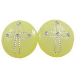 Acrylic Shank Button, Flat Round, silver accent, more colors for choice, 14x6mm, Hole:Approx 1.5mm, Approx 1050PCs/Bag, Sold By Bag