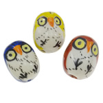 Animal Porcelain Beads, Owl, hand drawing, more colors for choice, 17x22x17mm, Hole:Approx 2mm, Sold By PC