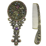 Zinc Alloy Cosmetic Mirror & Comb Set, antique bronze color plated, with rhinestone, cadmium free, 61x138x14.5m, 26x126x4mm, Sold By Box