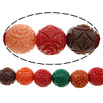 Carved Natural Coral Beads, Synthetic Coral, Round, mixed colors, 12mm, Hole:Approx 2mm, Sold By PC