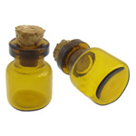 Glass Bead Container, with Wood, translucent, midium yellow, 13x27mm, Hole:Approx 7mm, Sold By PC