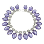 Rhinestone Costume Accessories, with brass chain, Teardrop, silver color plated, purple, nickel, lead & cadmium free, 13x26x7.5mm, Hole:Approx 5.5mm, Length:Approx 9.8 Inch, Sold By PC