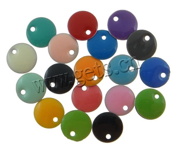 Enamel Iron Pendants, Coin, more colors for choice, nickel, lead & cadmium free, 10mm, Hole:Approx 1-1.5mm, Sold By PC