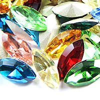 Crystal Cabochons, Horse Eye, silver color plated, different size for choice & rivoli back & faceted, mixed colors, Sold By Bag