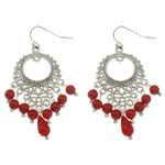 Natural Coral Drop Earring, with Zinc Alloy, brass earring hook, antique silver color plated, red, 25x55x5mm, Sold By Pair