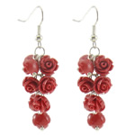 Natural Coral Drop Earring, brass earring hook, Flower, more colors for choice, 18x53mm, Sold By Pair