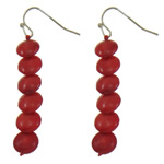 Natural Coral Drop Earring, brass earring hook, more colors for choice, 8x52mm, Sold By Pair