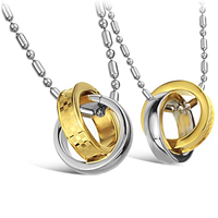 316L Stainless Steel Couple Necklace, Donut, plated, for couple & two tone, Length:Approx 21.5 Inch, Sold By Pair