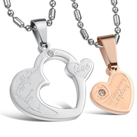 316L Stainless Steel Couple Necklace, Heart, plated, for couple & with Czech rhinestone & two tone, Length:Approx 21.5 Inch, Sold By Pair
