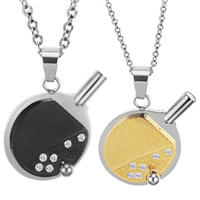 316L Stainless Steel Couple Necklace, plated, for couple & with Czech rhinestone & two tone, Length:Approx 17 Inch, Approx 19.5 Inch, Sold By Pair