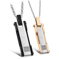 316L Stainless Steel Couple Necklace, Rectangle, plated, for couple & two tone, Length:Approx 17 Inch, Approx 19.5 Inch, Sold By Pair