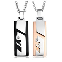 316L Stainless Steel Couple Necklace, Rectangle, plated, for couple & with Czech rhinestone & two tone, Length:Approx 17 Inch, Approx 19.5 Inch, Sold By Pair