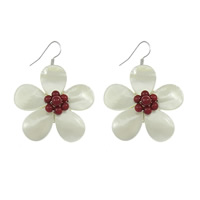White Shell Earrings, with coral, brass earring hook, Flower, platinum color plated, 37x37x17mm, 49mm, Sold By Pair