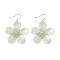 White Shell Earrings, brass earring hook, Flower, platinum color plated, with pearl, 37x37x17mm, 49mm, Sold By Pair