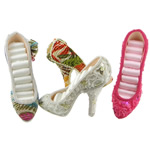 Cloth Ring Display, with Plastic Sequin & Resin, Shoes, mixed colors, 160x120x50mm, Approx 96PCs/Lot, Sold By Lot