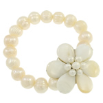 Cultured Freshwater Pearl Bracelets, with White Shell, Flower, natural, 38x39x17mm, Length:Approx 7.5 Inch, Sold By Strand