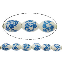 Blue and White Porcelain Beads, Oval, printing, with flower pattern, 15x12x12mm, Hole:Approx 3mm, Length:Approx 15 Inch, 26PCs/Strand, Sold By Strand