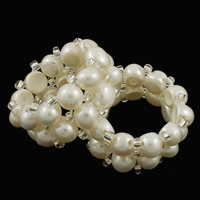Cultured Freshwater Pearl Finger Ring, with Rhinestone, 2-strand, Size:10, Sold By PC