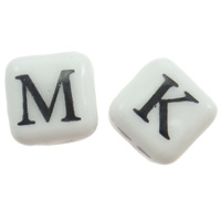 Printing Porcelain Beads, Cube, different designs for choice & with letter pattern, white, 9mm, Hole:Approx 3mm, Sold By PC