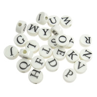 Printing Porcelain Beads, Flat Round, with letter pattern & mixed, white, 8x4mm, Hole:Approx 2mm, Sold By PC