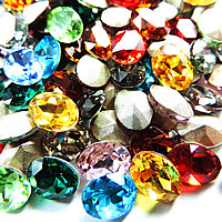Crystal Cabochons, Oval, silver color plated, rivoli back & faceted, more colors for choice, Sold By Bag