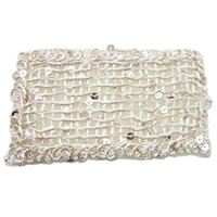 Fiber Magic Hair Pad, with Plastic Sequin, Rectangle, beige, nickel, lead & cadmium free, 80x40mm, 60PCs/Lot, Sold By Lot