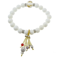 Fluted Giant Buddhist Beads Bracelet, with rhinestone brass spacer & Elastic Thread & Glass, Round, platinum color plated, Buddhist jewelry & om mani padme hum & gold powder, 12mm, 8.5mm, 7x10.5x5mm, 4x5mm, Sold Per Approx 8 Inch Strand
