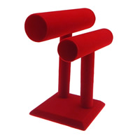 Velveteen Bracelet Display, with Glue & Wood, red, Sold By PC