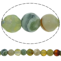 Natural Lace Agate Beads, Round, faceted, 4mm, Hole:Approx 0.5mm, 92PCs/Strand, Sold Per Approx 14.5 Inch Strand