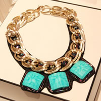 Turquoise Zinc Alloy Necklace, with PU & Synthetic Turquoise & Crystal, gold color plated, twist oval chain, nickel, lead & cadmium free, 45x4cm, Length:17.5-23.5 Inch, 60Strands/Bag, Sold By Bag