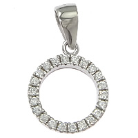 Cubic Zirconia Micro Pave Sterling Silver Pendant, 925 Sterling Silver, Donut, plated, micro pave cubic zirconia, more colors for choice, 11x14x2.5mm, Hole:Approx 3x4mm, Sold By PC