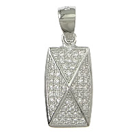 Cubic Zirconia Micro Pave Sterling Silver Pendant, 925 Sterling Silver, Rectangle, plated, micro pave cubic zirconia, more colors for choice, 8.5x17x4mm, Hole:Approx 3.5x4mm, Sold By PC