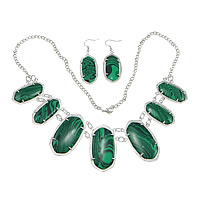 Malachite Jewelry Set, earring & necklace, brass lobster clasp, brass earring hook, synthetic, twist oval chain, Length:Approx 24 Inch, Sold By Strand