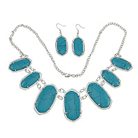 Synthetic Turquoise Jewelry Set, earring & necklace, brass lobster clasp, brass earring hook, platinum color plated, twist oval chain, blue, Length:Approx 24 Inch, Sold By Strand