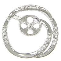 Sterling Silver Peg Bail, 925 Sterling Silver, Flat Round, plated, micro pave cubic zirconia, more colors for choice, Hole:Approx 2mm, Sold By PC