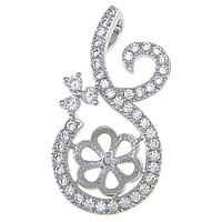 Sterling Silver Peg Bail, 925 Sterling Silver, Teardrop, plated, micro pave cubic zirconia, more colors for choice, Hole:Approx 2mm, Sold By PC