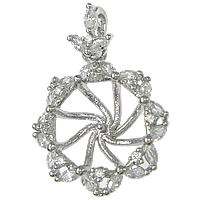 Sterling Silver Peg Bail, 925 Sterling Silver, Flower, plated, micro pave cubic zirconia, more colors for choice, 16x20x5mm, 0.8mm, Hole:Approx 2mm, Sold By PC
