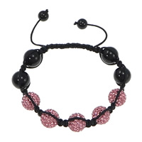 Rhinestone Shamballa Bracelets, Rhinestone Clay Pave, with Nylon Cord & Black Agate, Customized, more colors for choice, 12mm, 8mm, Length:8-12 Inch, Sold By Strand