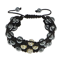 Non Magnetic Hematite Woven Ball Bracelets, with Rhinestone Clay Pave Bead & Nylon Cord, with 55 pcs rhinestone, more colors for choice, Length:8-12 Inch, Sold By Strand