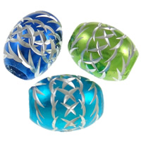 Aluminum Beads, Oval, painted, carved, more colors for choice, nickel, lead & cadmium free, 16x12mm, Hole:Approx 5mm, 1000PCs/Bag, Sold By Bag