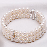 Freshwater Pearl Bracelet, sterling silver slide clasp, natural, 3-strand & with rhinestone, white, 6-7mm, Sold Per Approx 7.5 Inch Strand