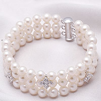 Freshwater Pearl Bracelet, sterling silver slide clasp, natural, 3-strand & with rhinestone, white, 6-7mm, Sold Per Approx 7 Inch Strand