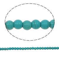 Dyed Natural Turquoise Beads, Dyed Turquoise, Round, green, Length:Approx 14.5 Inch, Sold By Strand