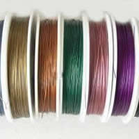 Tiger Tail Wire, with Plastic, plated, with rubber covered & 7-yarn & steel diameter: 0.35mm, more colors for choice, 0.5mm, Length:90 m, Sold By PC